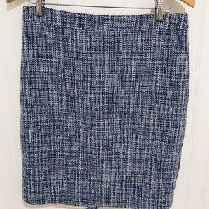 J. Crew No. 2 pencil skirt blue tweed 6